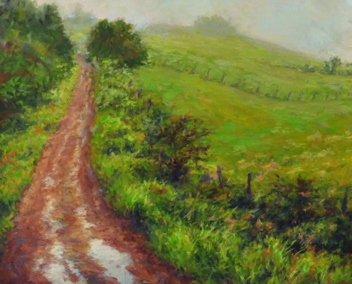 Kim Aerts - oil painting - Tractor road early morning. Parrsboro, NS