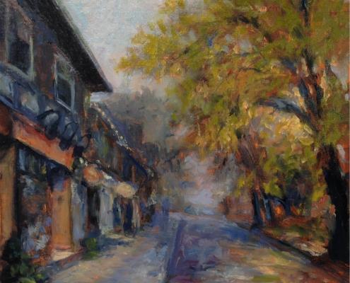 Evening Mist Hydrostone - oil on wood - Kim Aerts