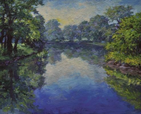 Pond, Public Gardens - oil on wood - Kim Aerts