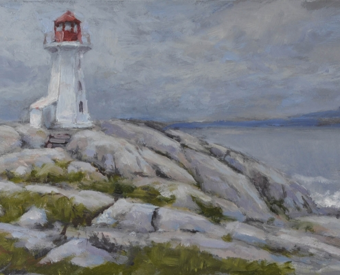 Lighthouse, gray day - oil on wood - Kim Aerts