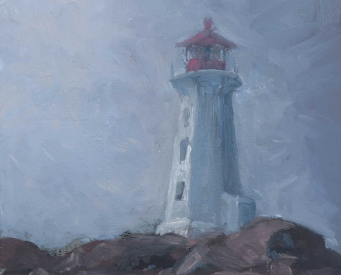 Lighthouse in breaking mist - oil on wood - Kim Aerts