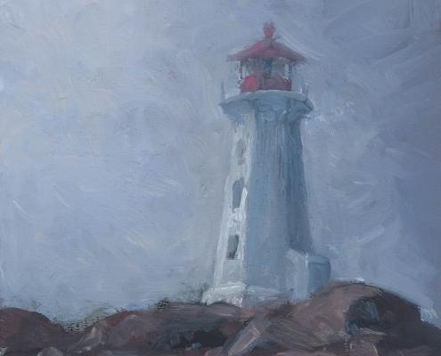 Lighthouse in breaking mist - oil on wood - Kim Aerts