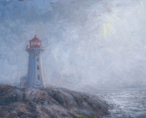Lighthouse in closing fog - oil on wood - Kim Aerts