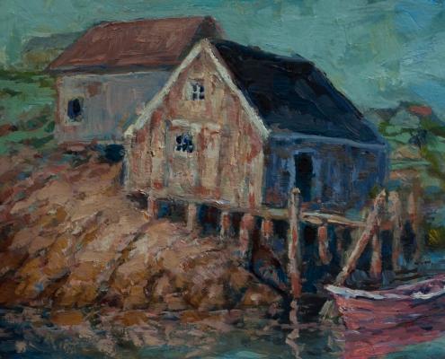 Peggy's Cove - oil on wood - Kim Aerts