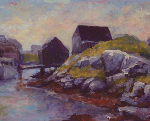 Peggy's Cove, early morning - oil on wood - Kim Aerts