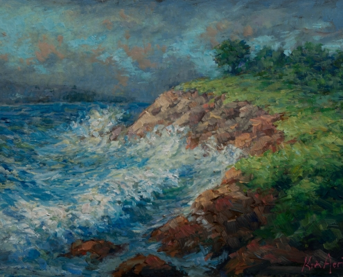 Rollers off Prospect Head - oil on wood - Kim Aerts
