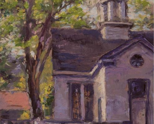 Teahouse, Public Gardens - oil on wood - Kim Aerts