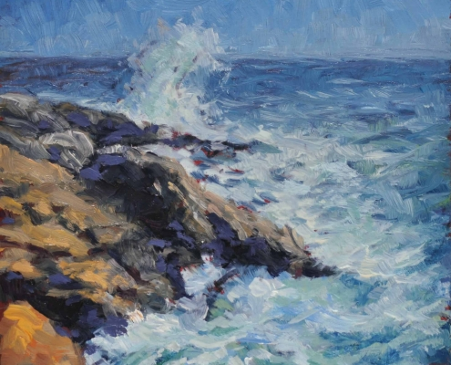 Kim Aerts oil painting - Far Point of Prospect Head - 4x4 inches