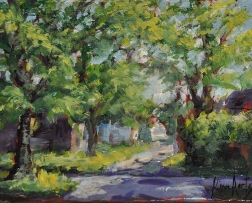 Kim Aerts oil painting - Back Alley, Hydrostone - 4x4 inches