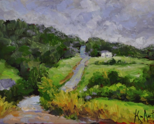 Kim Aerts oil painting - Back Road Into Central Nova Scotia - 3x4 inches