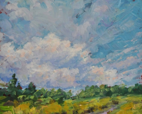Kim Aerts oil painting - Cloud Formation Over the Barrens - 4x4 inches