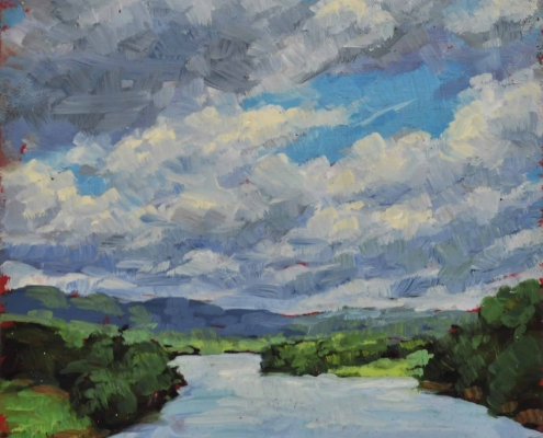 Kim Aerts oil painting - Clouds Reaching Over Saint John River - 4x4 inches