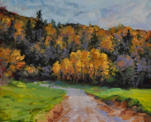 Kim Aerts oil painting - Copse of Autumn Birch - 4x4 inches