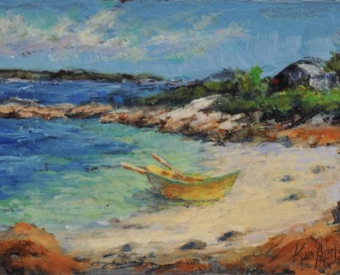 Kim Aerts oil painting - Cove Beach, Terrance Bay - 3x4 inches