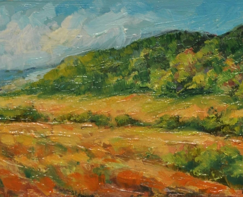 Kim Aerts oil painting - Field and Foothills Near Parrsboro - 3x6 inches