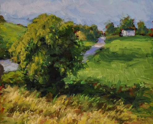 Kim Aerts oil painting - Field and Trees- 4x4 inches