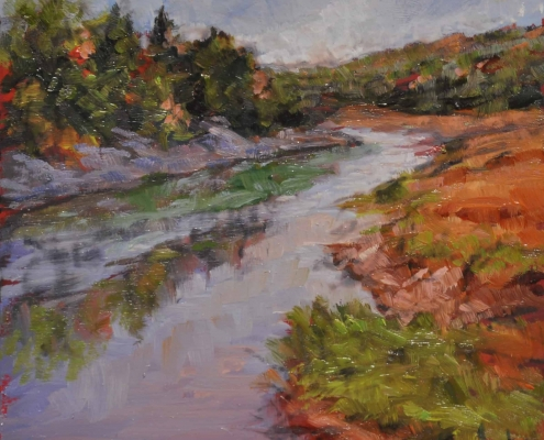 Kim Aerts oil painting - Harrington River Outfall - 4x4 inches
