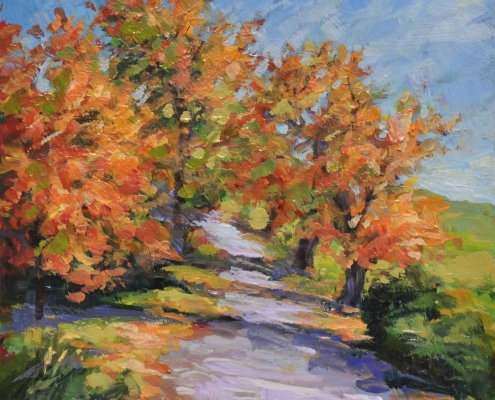 Kim Aerts oil painting - Horse Track in Autumn - 4x4 inches