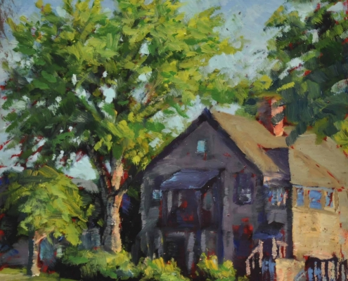 Kim Aerts oil painting - Late Day on the Corner, Stanley Place - 4x4 inches