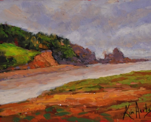 Kim Aerts oil painting - Outflow Past the Old Wife - 3x4 inches