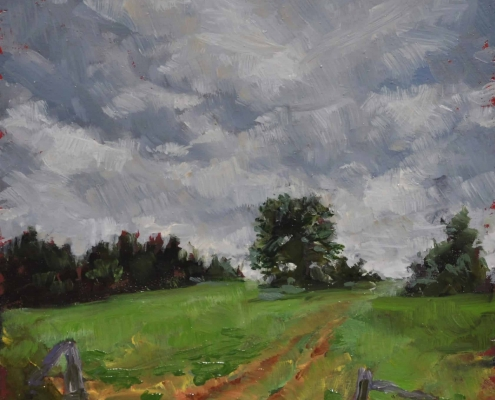 Kim Aerts oil painting - Overcast Field, Sussex - 4x4 inches