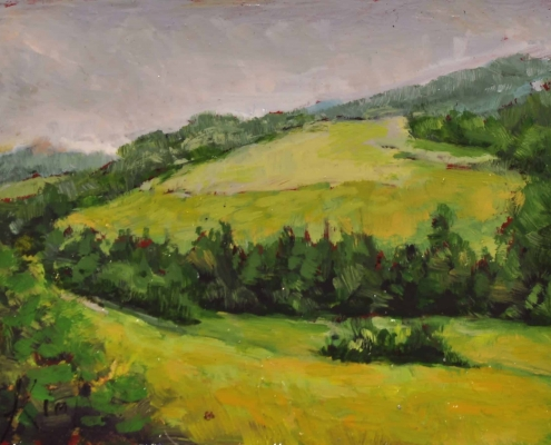 Kim Aerts oil painting - Rolling Hills Outside Sussex - 3x4 inches