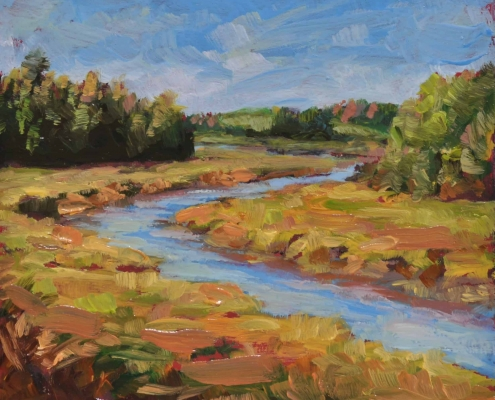 Kim Aerts oil painting - St. Croix River Outgoing - 4x4 inches