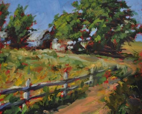 Kim Aerts oil painting - Summer Farm Parrsboro - 4x4 inches