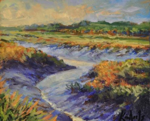 Kim Aerts oil painting - Tidal Bore Tributary, Gaspereau River 4x4